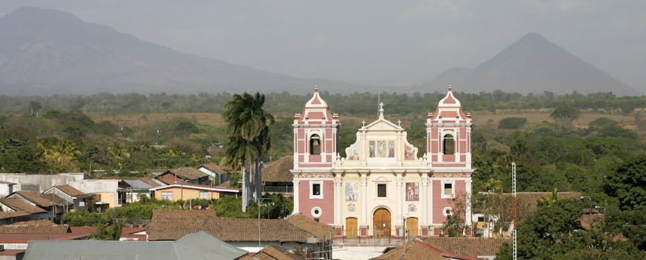 View from the cathedral to El Calvario church in Leon, Nicaragua